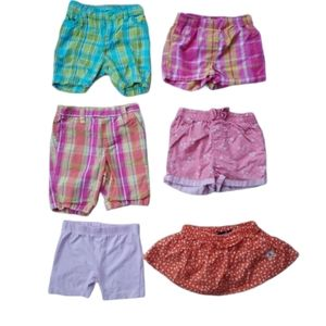Lot of 6 Girl's Shorts and Skorts, 18-24m